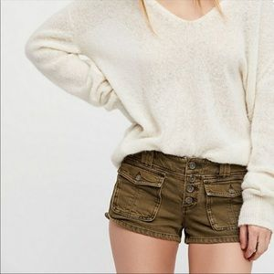 Free People Cora Low Rise Button Front Shorts